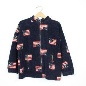 Vintage Kitestrings USA Flag Fleece Sz 8-10